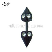Black Irregular cones 316L Surgical Steel Fake Taper W/ Gems