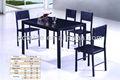 Habitación caliente fabricante de muebles de simple diseño tradicional de madera mesa de comedor, baratos negro mesa de comedor de madera conjunto a3