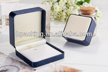 PU Pendant &earring plastic jewelry box with satin and velvet inlay