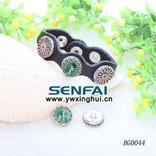 Real Leather Button Bracelet Enamel Alloy Cap Charms snap press button leather bracelet