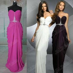 CQ046 Sweetheart neckline beaded rhinestones column long chiffon real sample new evening dress