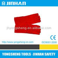 JINHUA JINHAN Brand Popular Design Red Long Welding Glove, protect glove cow 16, tig welding gloves S-1001