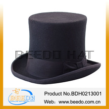 Special wholesale Blackt high top hats with good lining felt 100% pure rabbit and 15cm Height and leather sweatband from beedo