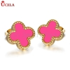 New Fashion girl's treny ear stud alloy pink crystal earring