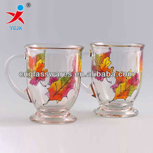 decal glass water cup / glass mug with flower printing