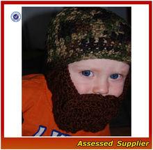 fashion double loop Crochet Beard Hat Pattern/Baby Beard Beanie