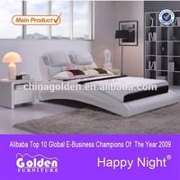 Foshan Golden Furniture Modern teak wood double bed designs for sale