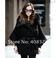 Women Fox Fur collar Belted Wool Coat cape outwear Trench Coat 2323