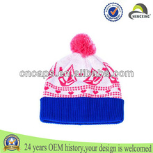 2013 fashion knitted beanie hats with top ball