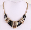 2014 Chunky New in Fashion Gold Tone Black Pendant Necklace Chain Statement Bib Necklace(SWTN864-1)