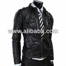 Slim Fit Strap Pocket Black Sheep Leather Jacket