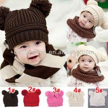 New Fashion Korean Flash Drill Baby Hat Love Dual Ball Knitted Girls/Boys Wool Cap