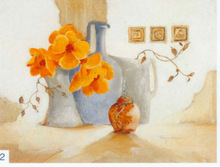 Handpainted Classic Still Life flower designs fabric painting, White and Yellow Roses in a Tall Vase