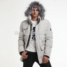 OEM European Trendy Jacket Waterproof Breathable Leather Overcoat Big Fur Men Winter Long Down Coats Canada