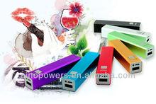 2014 new Metallic Lipstick 2000mAh Mobile Power Bank for iphone, ipad, Samsung Galaxy,Blackberry,HTC