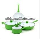 Eco friendly durable 7pcs green aluminum white ceramic coating cookware set