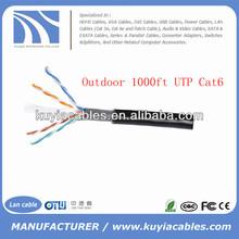 Black 1000FT/305m Outdoor Waterproof UTP Cat6 Cable