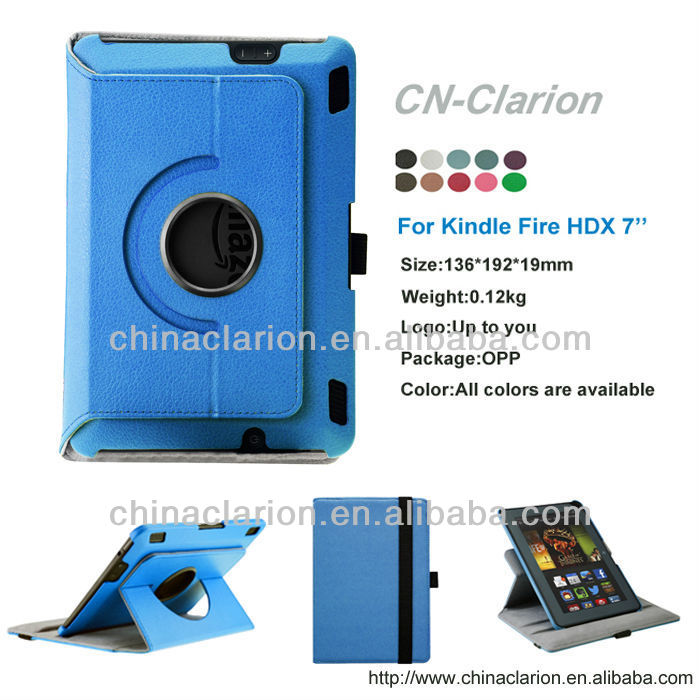 360 Degree Rotating Leather PC Case For Kindle Fire HDX 7
