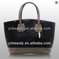 Python patchwork women plain black tote bag