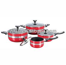 8pcs spiral aluminum nonstick cookware set with temperature knobs