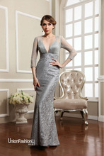 Transparent lace 3/4 long sleeve embroidered tight mermaid formal cocktail dresses 2015 long silver evening dress