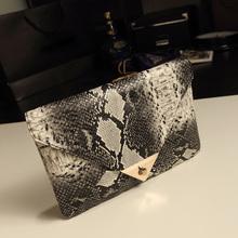 Fashion Women's Snake Skin Envelope Bag Day Clutches Purse Evening Bag