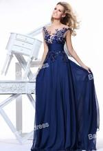 Nouvelles robes de mode 2013 robes de soirée pour les dames ceinture de satin dentelle appliqued robes de bal en mousseline de soie à bas prix à long soir, te10 92130