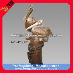2 Bronze Pelicans on a Dock Sculpture Bronze Animal Sculpture