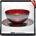 vermelho cor da placa de vidro e bacia definido