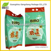 Packaging waterproof design washing powder bags with die cut handle