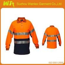 2 tone Safety shirt 100 % cotton Long sleeves anti-uv work shirts