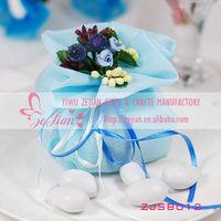 Fashion wedding celebration organza wedding candy gift bag with bouquet blue flower