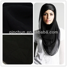 100 polyester korean black ity chiffon fabric for black abaya, niqab, hijab, burqa
