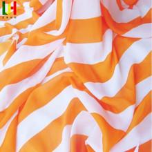 Printing orange and white stripes elastic chiffon fabric