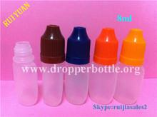8ml PE plastic dropper vials with childproof cap for eliquid