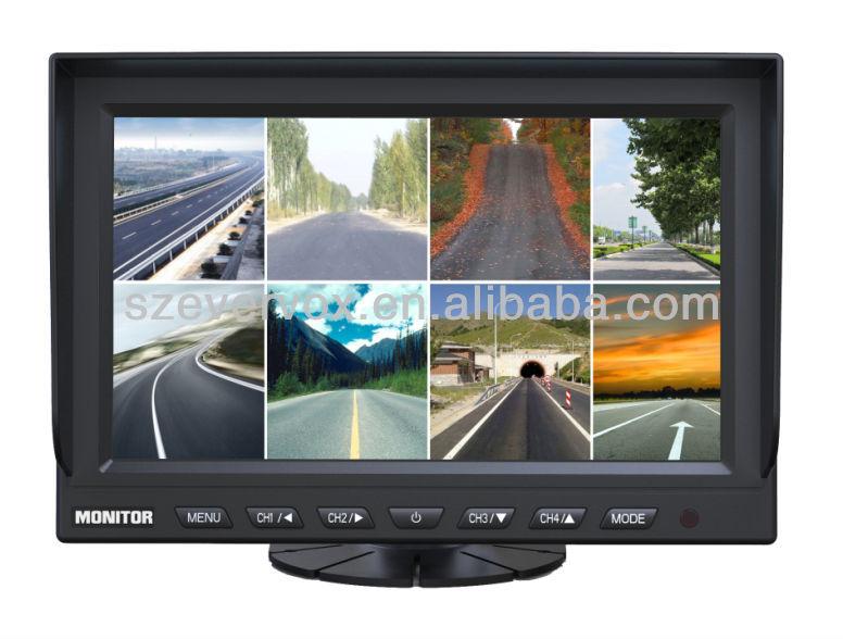 9 inch quad screen tft lcd car monitor
