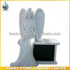 Haobo Stone Granite Gray Sitting Angel With Black Bench