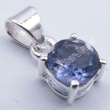 925 Sterling Silver Genuine Blue IOLITE Cut Gemstone Cute 4-Prong Pendant 1.6CM