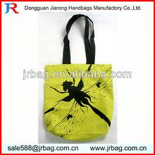 Wholesale cute plain yellow cotton canvas tote sholuder bags