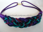 Vintage 80's Braided Rope Belt with large gold toned hook Purple, navy and aqua