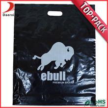 Quality handle black plastic bag hot stamp