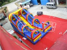 Rainbow fun slide double lane pvc circus playgropund slide for child