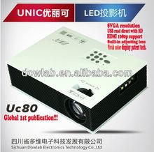 Global 1st!!!Vivid color display UC80 AV 2USB VGA HDMI IP TV hd movie projector