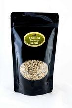 Hulled Hemp Seeds in 250g black packaging