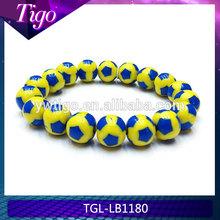 wholesale soccer ball charm elastic beaded bracelets