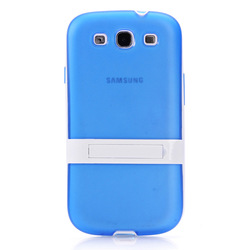 Removable plastic frame + TPU combination case with holder for samsung galaxy s3 TPU case