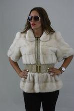 White Saga Mink Fur Vest with Elastic Waist