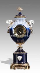 Prize Cup Shape Gold Plated Deck Clock, Home Decoration Clock, Art Decor Porcelain Table Clock