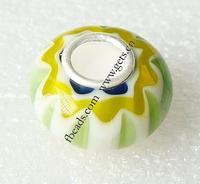 Millefiori Glass 14x8mm 8mm light green glass beads