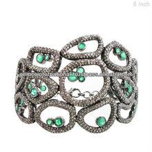 Smeraldo 925 braccialetto in argento sterling, oro 14k diamante braccialetto, braccialetto gemma gioielli produttore